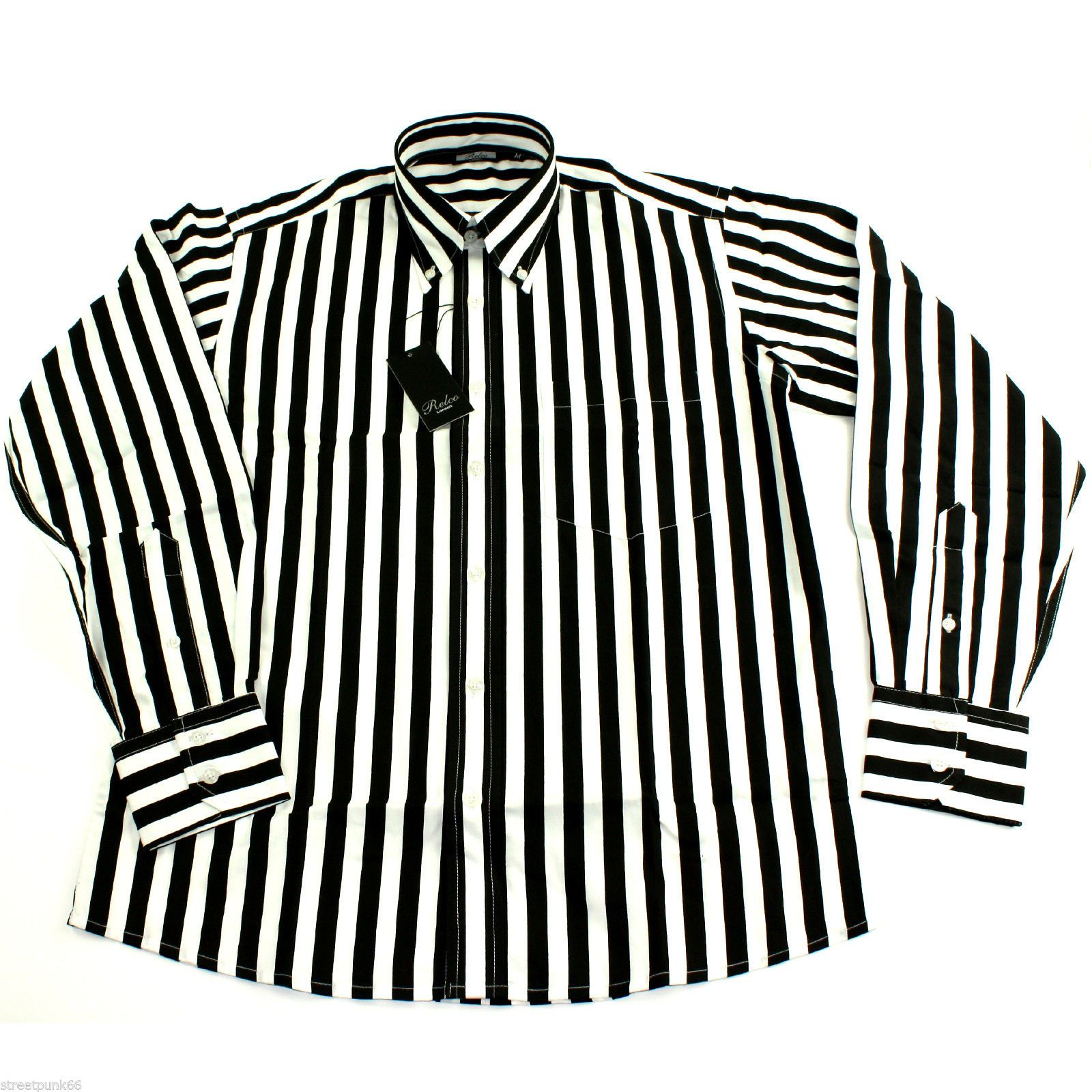 Mens Black White Striped Long Sleeved Shirt Mod Skin Retro Indie 60s